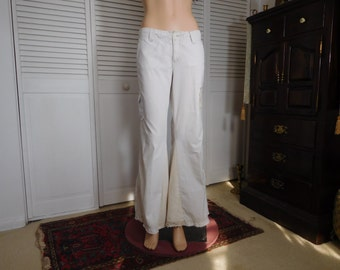Bellbottom Cargo Pants Upcycled Clothes Size 10 Leg Pocket Hippie Clothing Recycled White Baggy Leg Hiking Festival Boho Clothes
