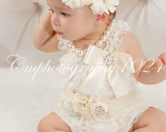 Ivory Flower Crown Headband/Flower Crown Headband/Flower Headband Wedding/Baby Girl Headband/Girl Headband Baby/Toddler Headband/Baby Rompe