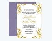 Damask Wedding Invitation Template - Gold Flourish Damask Affordable Printable Wedding Invitation Editable PDF Template - DIY You Print