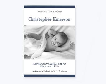 Baby Birth Announcement Stripe Photo Invitation PDF Template, Boy Or Girl Printable Birth Announcement, Editable PDF Template, DIY You Print