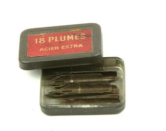 Vintage steel pen nibs box, metal box with 18 nibs Hunt school round pointed