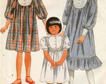 McCall's 8453 Sewing Pattern, Girls' Dress, Pullover Gathered into Back Yoke and into Buttoned Front, Size Large, Cut Vintage Sewing Pattern