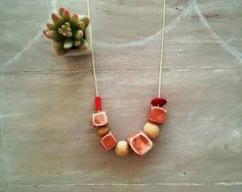 Cubes necklace / Clay necklace / terracotta necklace / geometric necklace / marbled necklace/wooden beads necklace / hand painted necklace
