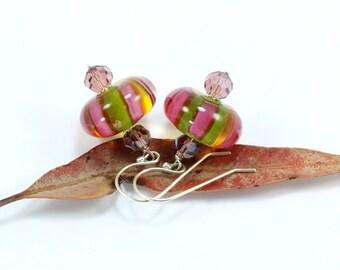Everyday Earrings, Beaded Earrings, Pink Dangle Earrings, Pink Crystal Earrings, Simple Earrings, Sterling Silver Earrings, Pink Earrings