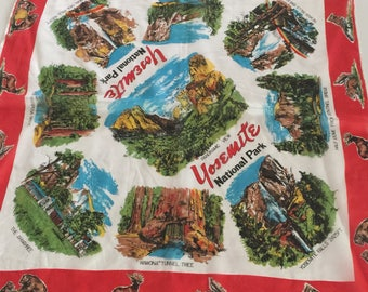 Great Graphics, 1950s, 1960s Rayon Yosemite Souvenir Scarf, Excellent, Vibrant Colors, 26 inch