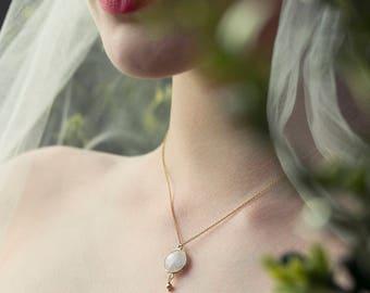 Moonstone necklace wedding, bridal drop necklace, gold wedding necklace, bridal pendant - Bay