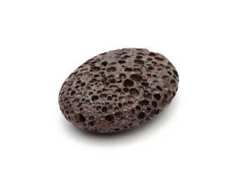 Large Lava Rock Brown Pendant Bead 12x30x40mm 1pc