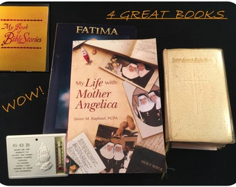 Big Vintage BIBLE Group - Saint Joseph Daily MISSAL, The Book of Bible Stories + Bonus My Life With Mother Angelica and FATIMA