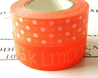 Orange washi tape set, orange patterned Washi tapes, decorative tapes, washi tape, orange pattern