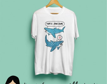 Jawesome Shark T-Shirt, Cute Illustrated Unisex Tee - Shark Tshirt, Jaws Tshirt, Animal Tshirt, Funny Tshirt, Illustration, S M L XL XXL