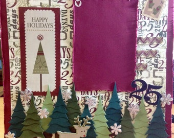 Christmas premade scrapbook page, personalized photo, framed decor, snowflakes, trees, reindeer {25 days}