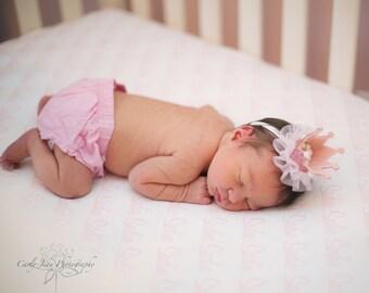Princess Crown Headband.  Tiara Headband.  Nylon headband or Ponytail holder. Light Pink and Gold/Light Pink with pearl accents.