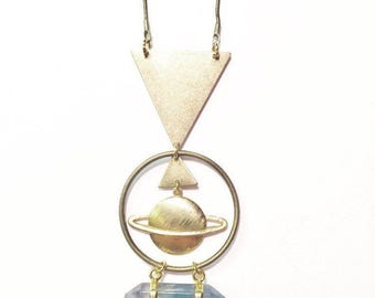Saturn Rising Necklace with Fluorite Crystal Point and Brass Triangles