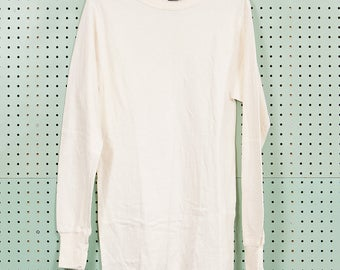 Vintage Cream White Duofold Thermal Long Sleeve Shirt Size M Irregular