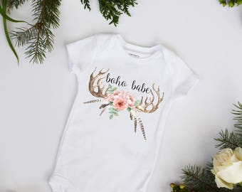 Boho Babe Baby Bohemian Baby Bodysuit Antlers and Feathers