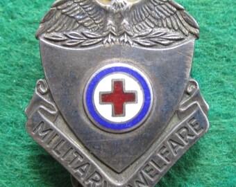 1940's World War II Era American Red Cross Military Welfare Insignia Badge - Free Shipping