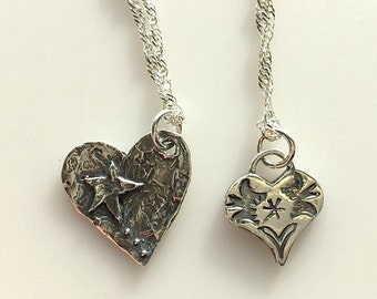 Artisan Sterling Silver Heart Necklaces - Heart and Star - Southwestern Heart Necklace - Valentines Hearts