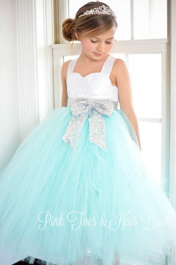 Flower girl dress birthday dress aqua flower girl dress silver il570xn mightylinksfo