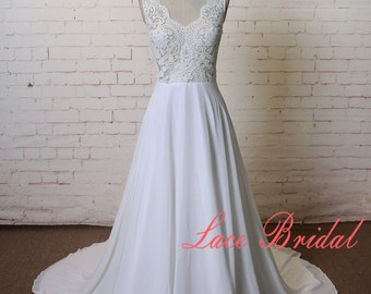 A-line Sheer Ivory wedding dress Lace Chiffon Wedding Gown See Through Wedding Dress Beach Destination Wedding Dress