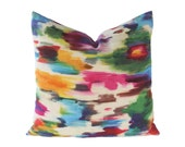 Watercolor Abstract Pillow Cover - multicolor abstract watercolor ikat decorative linen pillow cover - CHOOSE YOUR SIZE