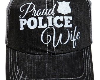 "NEW! White Glitter ""Proud Police Wife"" Distressed Look Grey Trucker Cap"