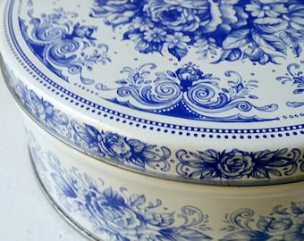 Blue and White Floral Tin