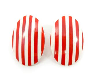 Vintage Red White Stripe Earrings, Lucite, Posts