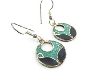 Vintage Mexico Dangle Earrings, Green Chip, Black Enamel, Round, Hooks, Nickel Silver
