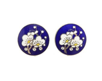 Vintage Japanese Enamel Earrings, Cobalt Blue, Cherry Blossom, Screw Backs, Marked Japan