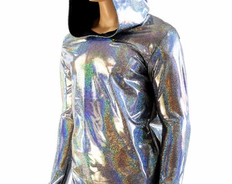 Mens Silver Holographic Long Sleeve Hoodie Shirt w/Black Zen Hood Liner Rave Space Festival Burning Man Clubwear 154026