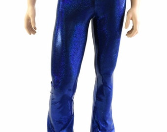 Mens Blue Sparkly Jewel Holographic Bootcut Spandex Pants Rockstar Rave Festival Yoga Leggings Disco -154032