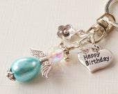 Choice of charms mum sister nan happy birthday keyring angel keyring fairy keyring heart keyring mothers day keyring flower keyring