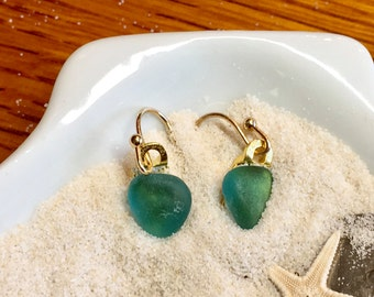 Iceland Teal  Sea glass Earrings-Gold Plated-ER123