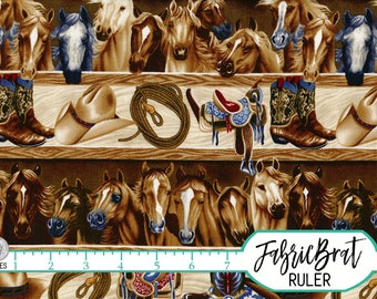 HORSES Fabric by the Yard, Fat Quarter Cowboy Boots, Rope, Saddle, Hat, Horse Fabric Barn Fabric 100% Cotton Fabric Quilt Fabric t4-27
