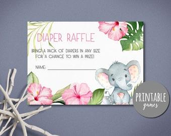 Baby Shower Diaper raffle card Printable, Elephant baby shower Diaper raffle ticket, Girl shower cards, Elephant diaper raffle Printable
