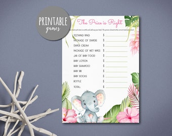 Price is right baby shower game Printable, Baby Shower Price is Right, Girl Baby shower game Elephant, Printable Price is Right Jungle