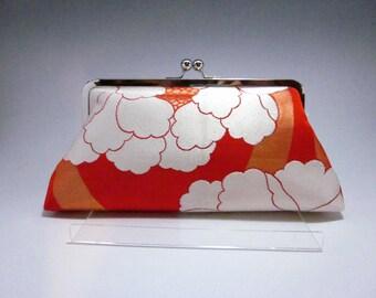 Orange peony Clutch/Kimono purse/  Purse / Hand-made/ Vintage Kimono Obi bag/22