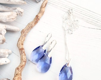 Sterling Silver Swarovski Earrings Necklace Set-Swarovski Crystal Jewellery-Tanzanite Purple -Bridesmaids Teardrop Dangle Drop Earrings