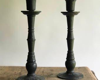 Black Cast Iron Candleholders / Black Candlestick holders / Black Metal Candle Holders / Pair of Mid Century Cast Iron Candleholders
