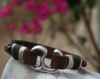 EXPRESS SHIPPING .Men's leather bracelet Brown leather bride leather men bracelet men's bracelet with silver plated hook clasp.Husband gift.