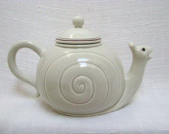 Fitz and Floyd Snail Teapot Vintage Fitz & Floyd Figural Snail Mini Teapot and Lid Whimsical Ceramic 1970s FF Slow Brewed Tea MINT Condition