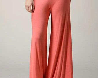 CORAL  wide leg elegant flowy rayon or cotton lycra palazzo gaucho maternity resort lounge beach pants with fold over skirt waist