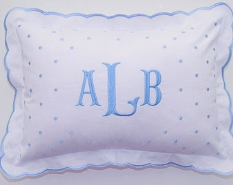 Monogrammed Baby Pillow | Personalized Swiss Dot Nursery Pillow | Great for newborn photos, nursery pillow, baby shower gift