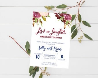 Love and Laughter Before Happily Ever After Rehearsal Dinner Invitation