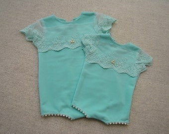 9 Months Romper Prop; Sitter Baby Girl Outfit; Light Teal Lace Romper; Baby Romper; Girl Photo Prop; Sitter Prop