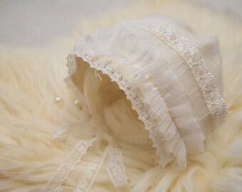 Newborn Bonnet, Angora Bonnet, Ivory, Lace Bonnet, Knit Baby Hat, Newborn Photo Prop, Newborn Prop, Newborn Girl Hat