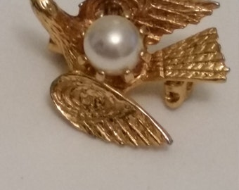 Tiny Golden Bird on the Wing.  Gold Tone Metal and Real Pearl Brooch or Pin.