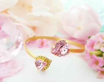 Swarovski Heart Bracelet ~ Pink Crystal Bracelet ~ Gold Bangle Cuff Bracelet ~ Light Pink Bracelet ~ Pink Tourmaline ~ Valentine Gift B3002