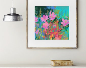 Cosmos / Signed Abstract Flower Giclee Print