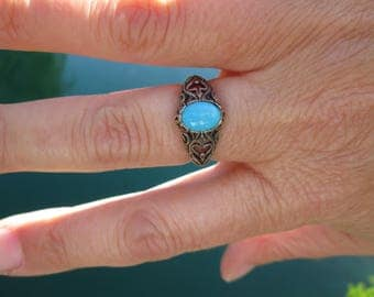 Turquoise and Ornate Sterling Silver Ring Size 7